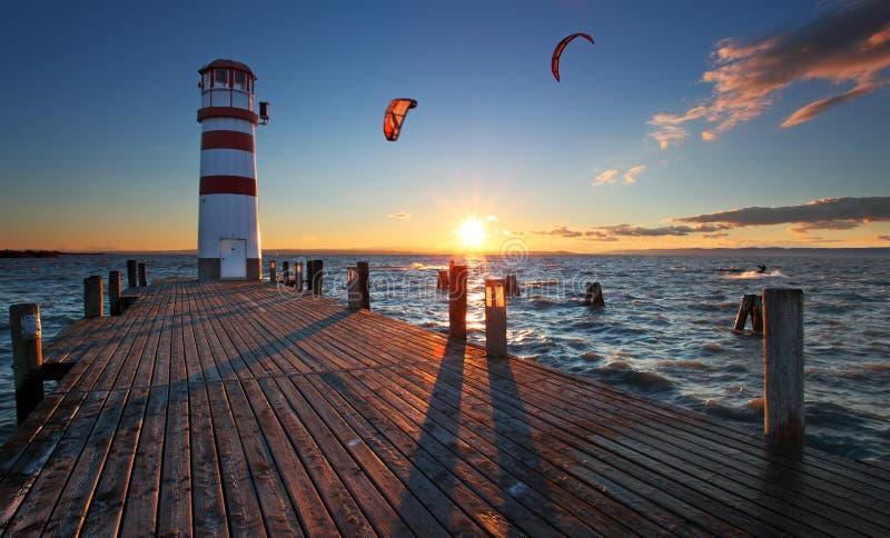 Lighthouse at Lake Neusiedl at sunset stock photos