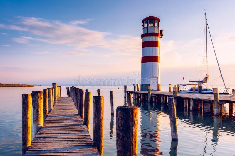 Lighthouse at Lake Neusiedl at sunset near Podersdorf, Burgenland, Austria stock image