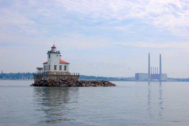 Oswego Harbor West Pierhead Lighthouse, Lake Ontario royalty free stock images