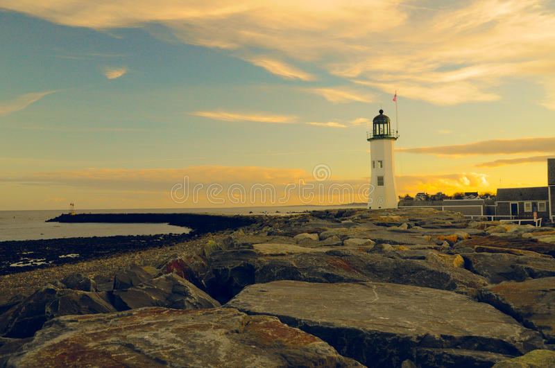 Lighthouse landscape. Classic lighthouse in New England royalty free stock photos