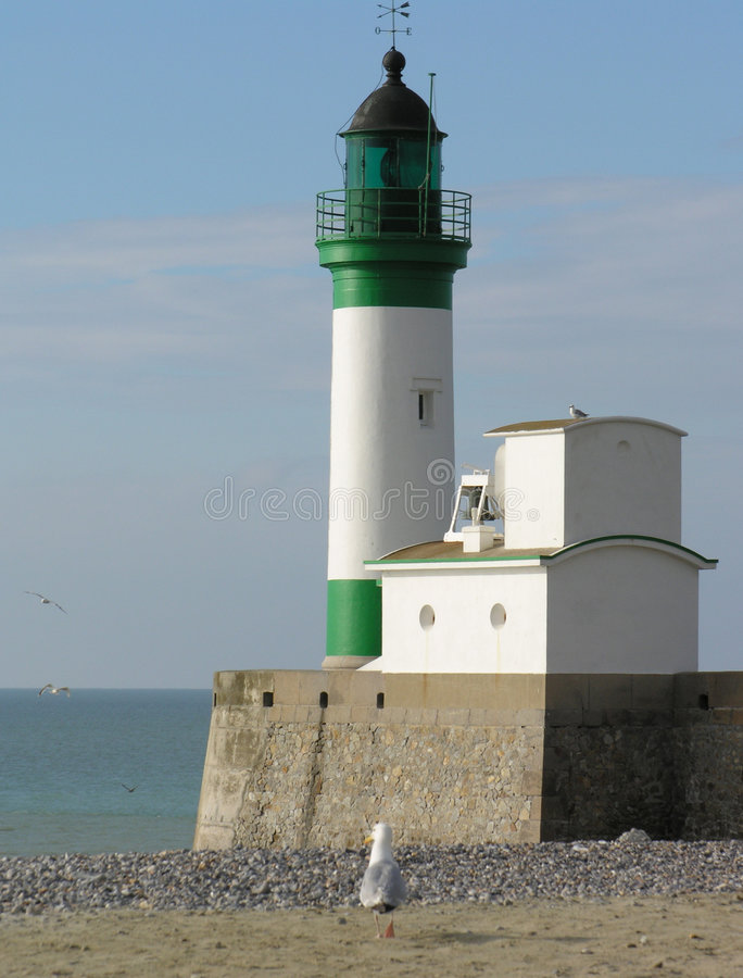 Lighthouse (Le Treport) stock images