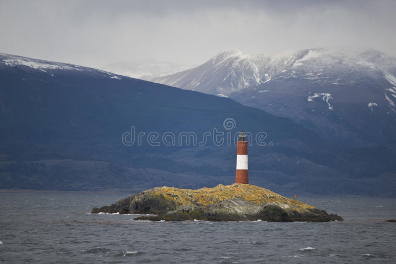 Lighthouse Les Eclaireurs on the Beagle Channel royalty free stock images