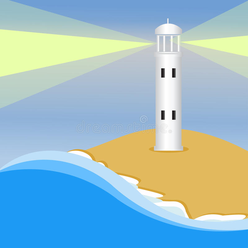 Lighthouse. Light house sea shore waiting for ships to arrive royalty free illustration