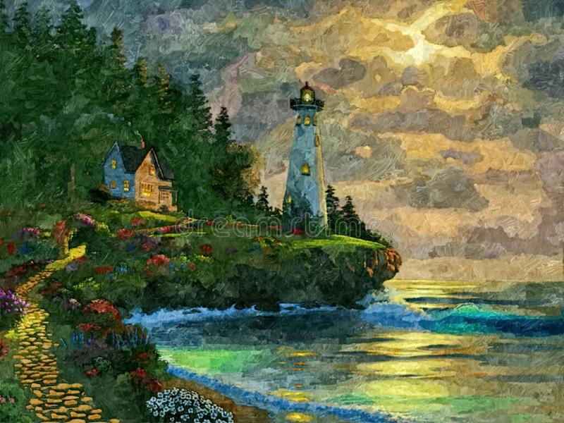 Lighthouse Light At Sunset  Seascape  Painting Wet
