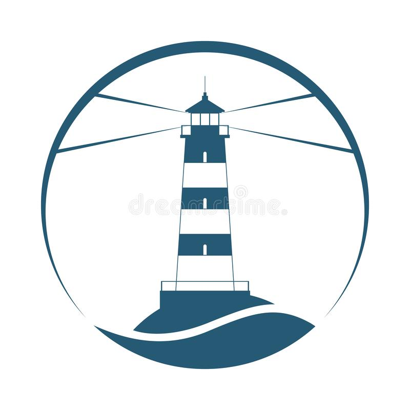Lighthouse symbol in the circle royalty free illustration