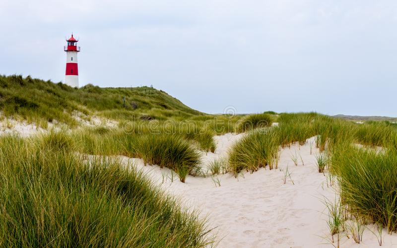 Lighthouse List-Ost inside a Dune Landscape with grass and sand. Panoramic view on a clear day. Located in List auf Sylt, stock photos