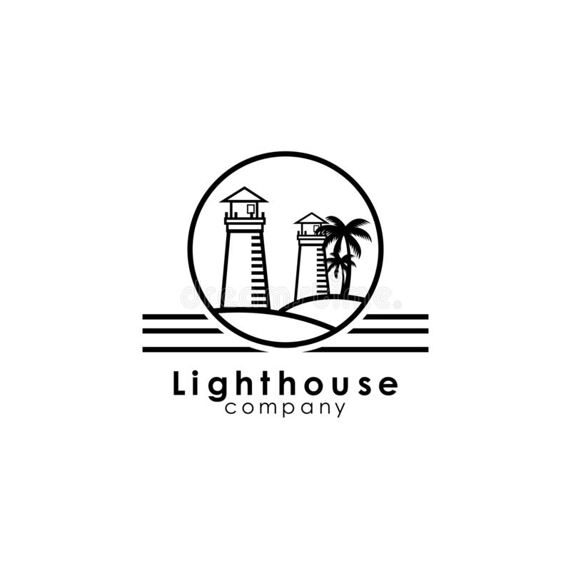 Lighthouse logo template, design vector icon illustration. Sea, ocean, direction, marine, navigation, nautical, emblem, signal, guide, symbol, beacon, isolated vector illustration