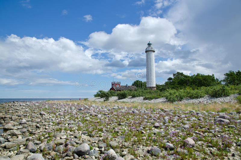 Lighthouse from low angle stock image