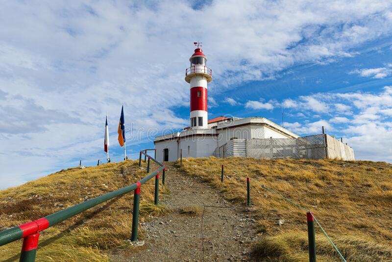 Lighthouse on Magdalena island in Chile stock photos