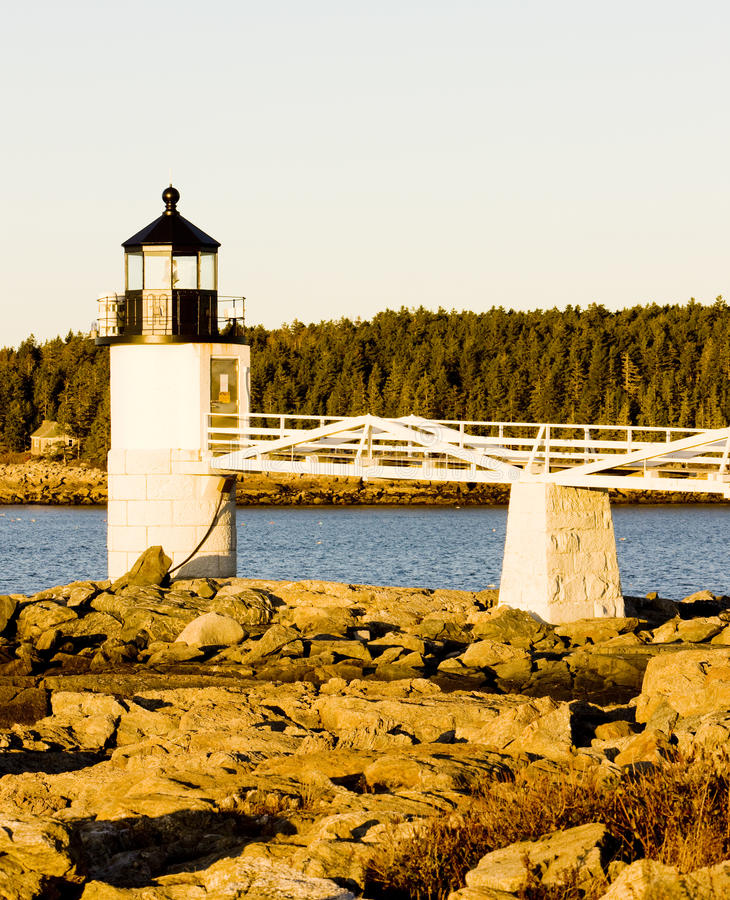 Lighthouse in Maine stock photography
