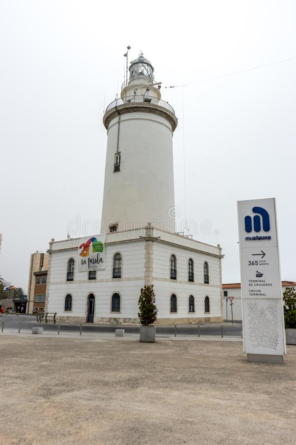 The lighthouse at Malagueta beach in Malaga, Spain, Europe. On a cloudy morning royalty free stock photography