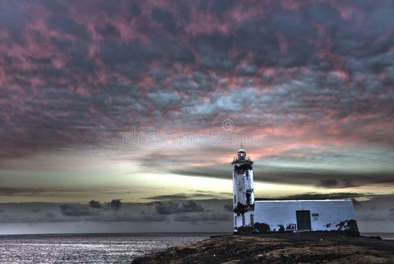 Lighthouse Maria Pia, Praia, Cape Verde. Lighthouse Maria Pia, Praia, Cape Verde (hdr image, abstract). Sunrise royalty free stock photos