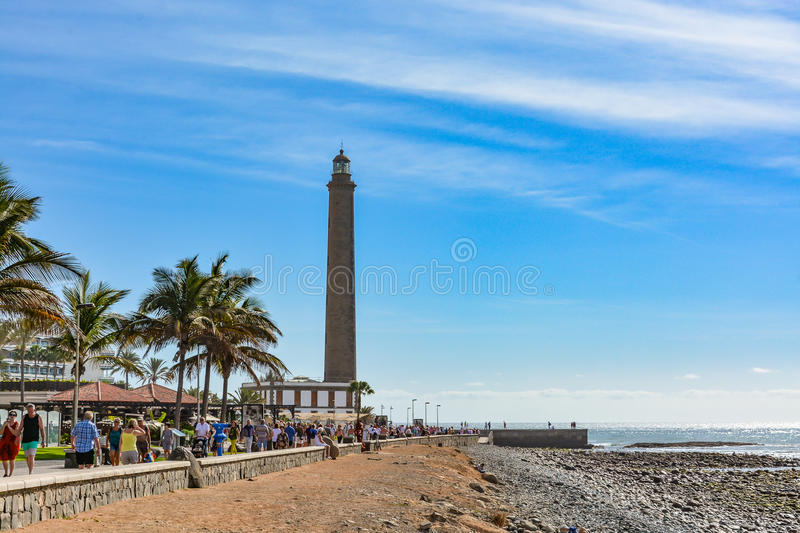 Lighthouse in Maspalomas (Faro de Maspalomas) on Grand Canary (Gran Canaria) royalty free stock images