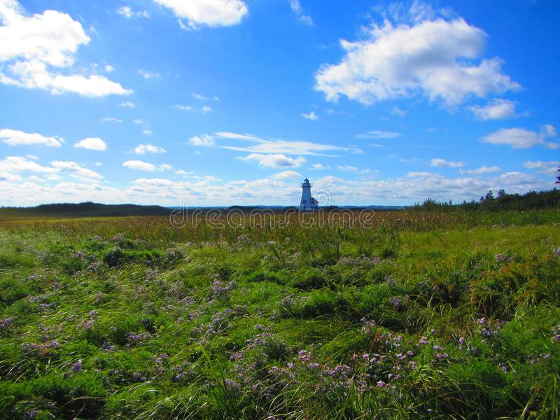 Lighthouse in a meadow Prince Edward Island royalty free stock photography