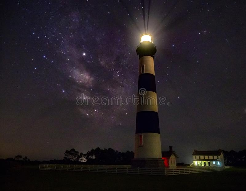 Lighthouse and Milky Way galaxy at night. A nighttime view of Bodie Island Lighthouse in the Outer Banks of North Carolina, with the Milky Way galaxy faintly stock images