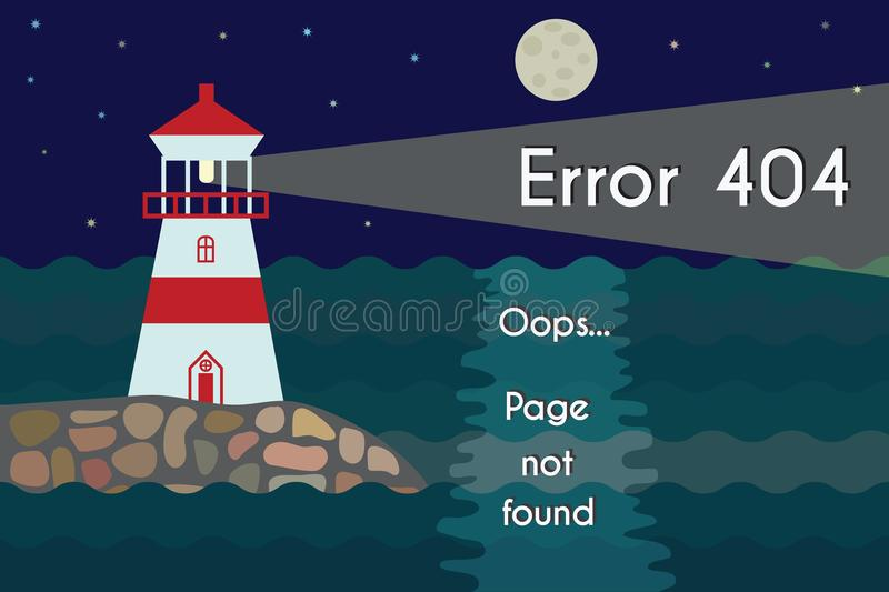 Lighthouse at night with 404 page not found text royalty free stock images