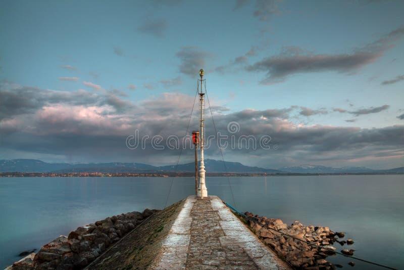 The lighthouse, Nyon, Switzerland stock image
