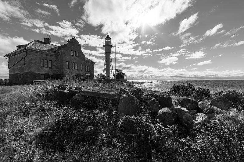 Lighthouse and old building royalty free stock images
