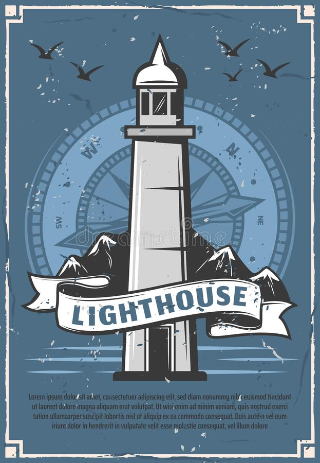 Free Lighthouse Or Beacon Retro Poster With Compass Stock Photography - 127259692