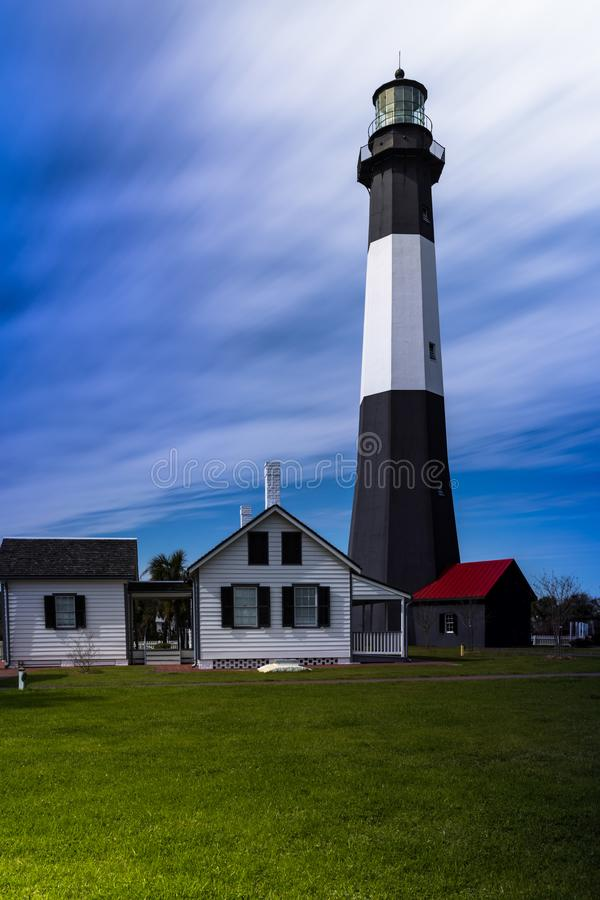LIGHTHOUSE OUTER BANKS SWEEPING CLOUDS stock images