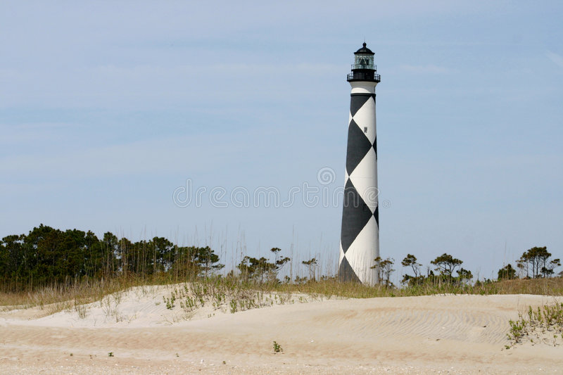 Lighthouse over the dunes royalty free stock photography