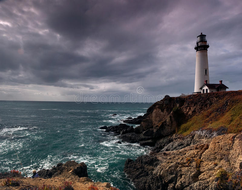 Lighthouse panorama on a cliff and ocean royalty free stock photography