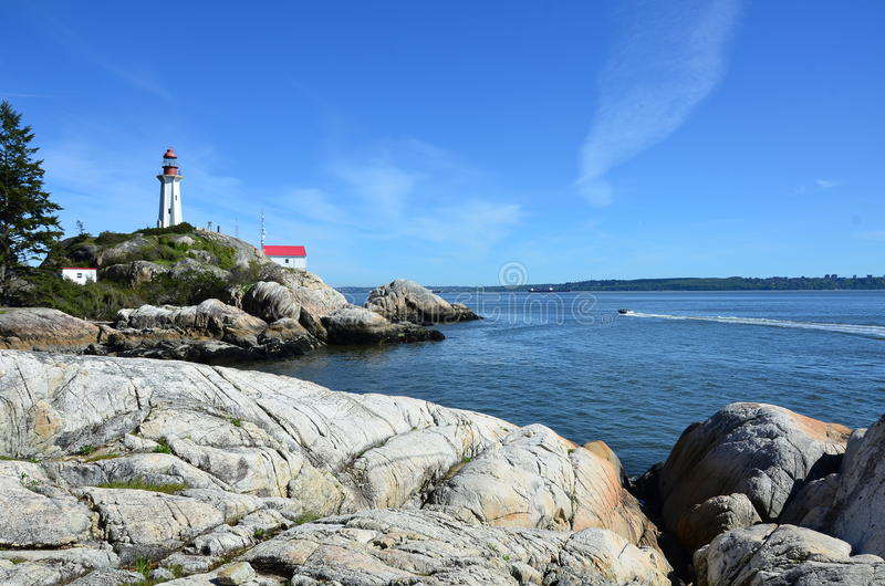 Lighthouse. Park is one of Vancouver`s most beautiful parks located along the shores of West Vancouver stock photo