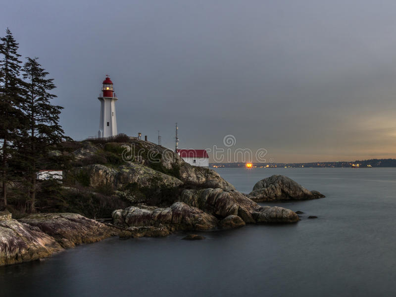Lighthouse park West Vancouver BC Canada at sunset stock photo