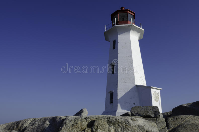 Lighthouse At Peggy S Cove, Nova Scotia Royalty Free Stock Photography