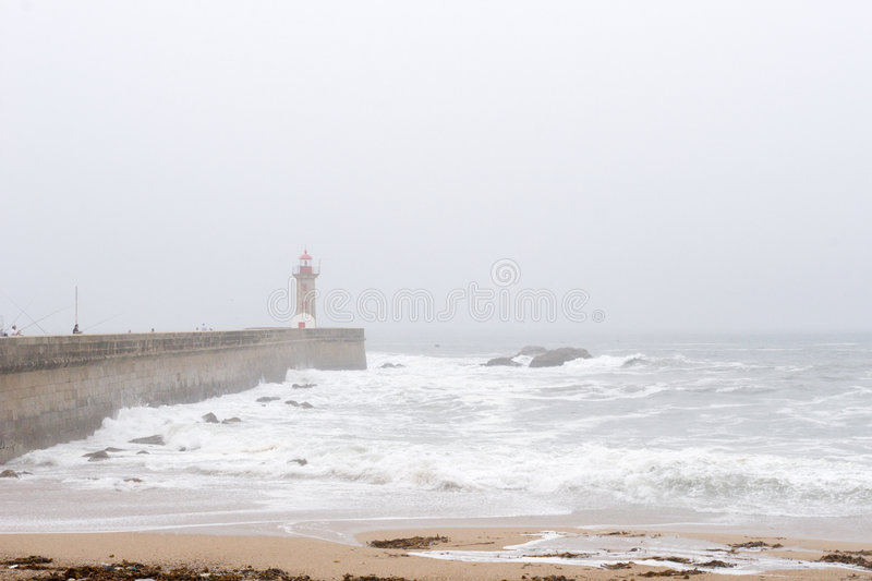 Download Lighthouse and pier in fog stock image. Image of foggy - 1771151