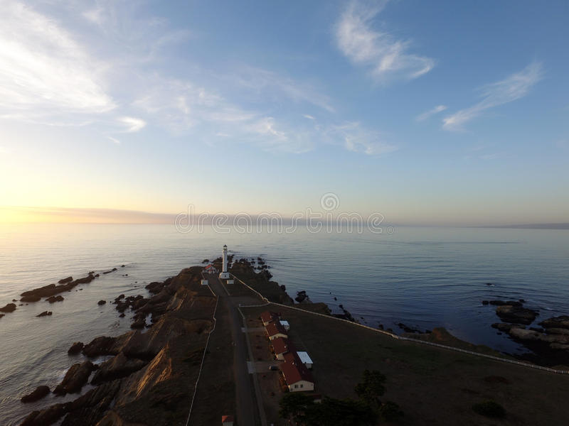Lighthouse Point Arena California at sunset royalty free stock photos