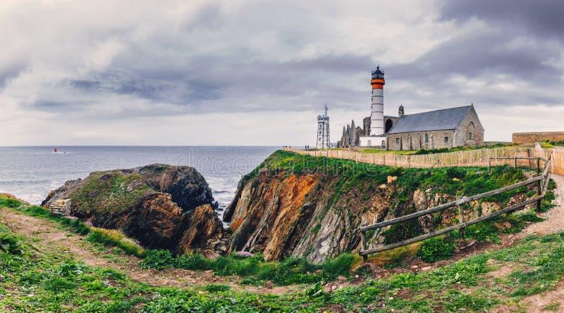Lighthouse Pointe de圣徒马蒂,布里坦尼不列塔尼,法国 库存照片