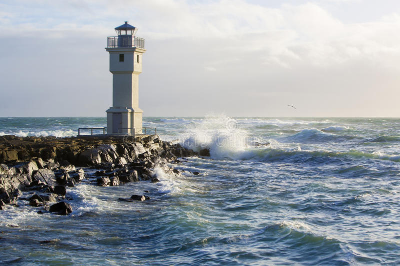 Lighthouse at the port of Akranes, Iceland. White lighthouse at the port of Akranes, Iceland stock image