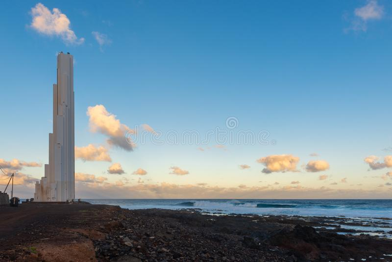 Lighthouse of Punta del Hidalgo, Tenerife Island, Spain royalty free stock images