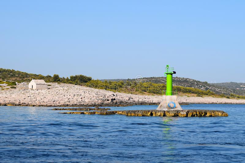 Lighthouse `Punta planka` Croatia stock image