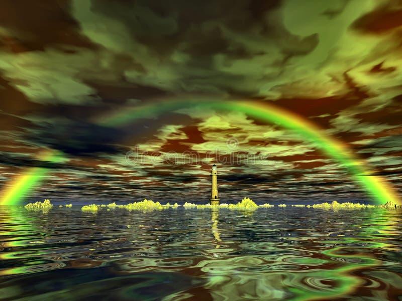 Lighthouse and rainbow stock illustration