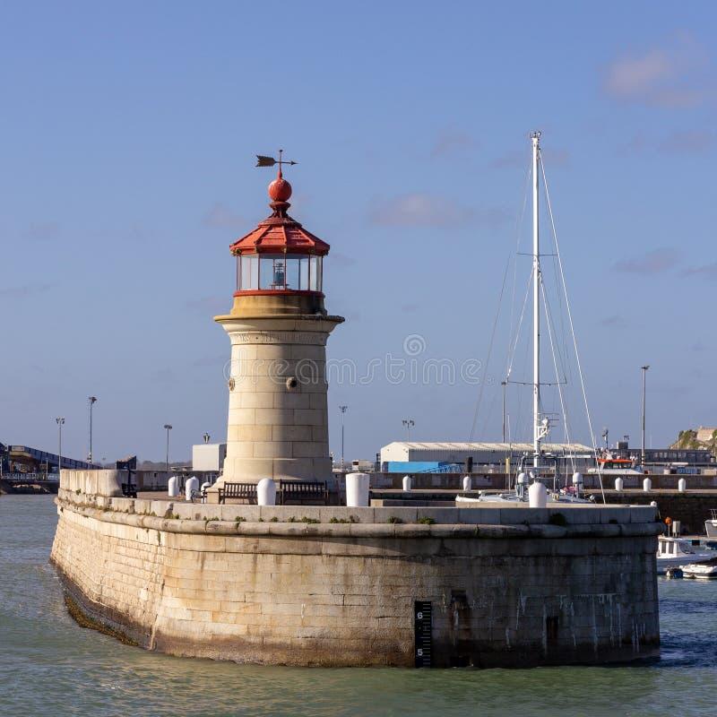 Lighthouse at Ramsgate harbor Kent, England. The lighthouse at the entrance to Ramsgate harbor in Kent, England, United Kingdom stock image