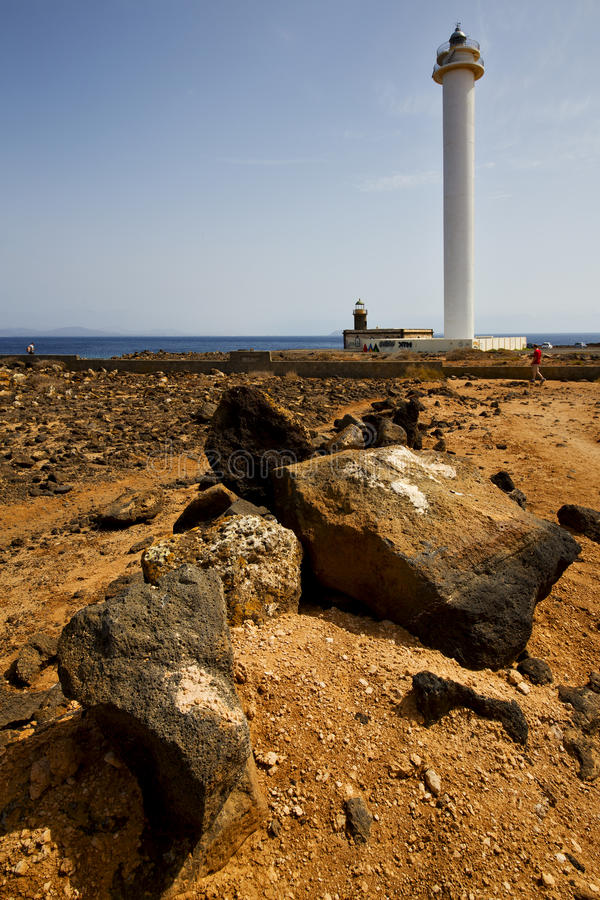 Download Lighthouse And Rock In The Blue Sky   Anzarote Spain Stock Photo - Image of pattern, lighthouse: 33317104