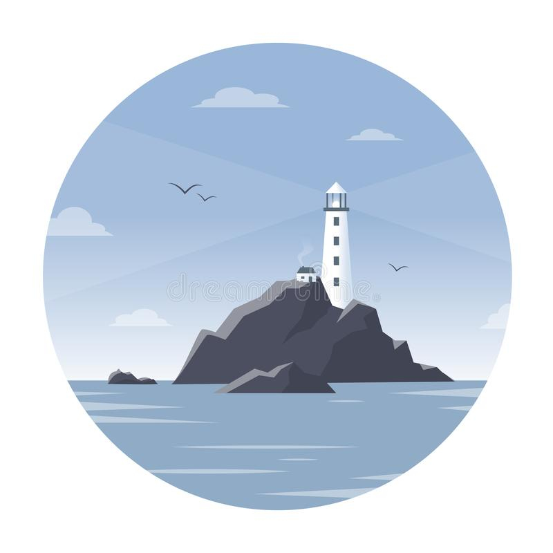 Lighthouse on a rock in the sea with seagulls stock illustration