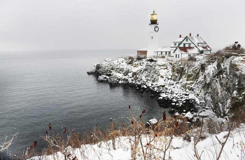 Lighthouse on the rocks on the Atlantic coast. The oldest lighthouse in Maine. USA. Portland royalty free stock image