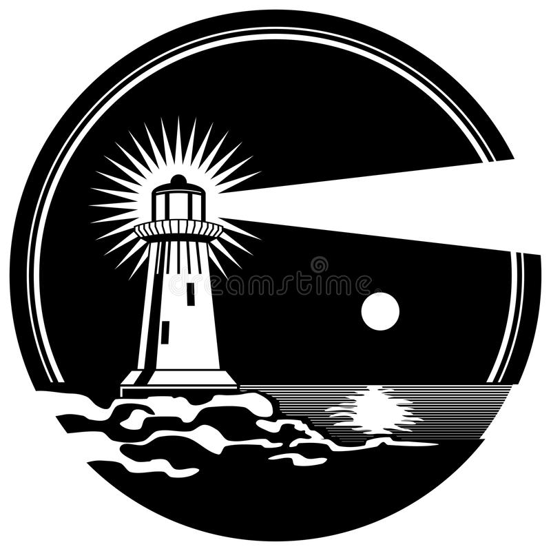 Lighthouse on the rocks shining moonlit night vector illustration vector illustration