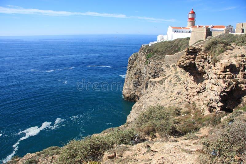 Lighthouse on Sagres cape, Faru, Portugal. royalty free stock photos