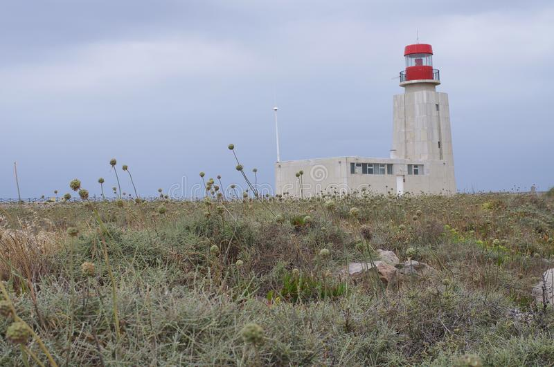 The lighthouse at Sagres Point on Algarve coast royalty free stock photography