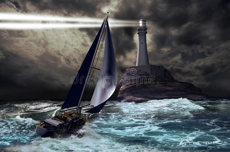 Lighthouse and sailboat. A lighthouse tower projects its light through a stormy sky, as a sailboat approaches it