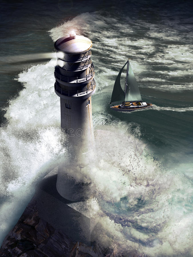 Lighthouse and sailboat vector illustration