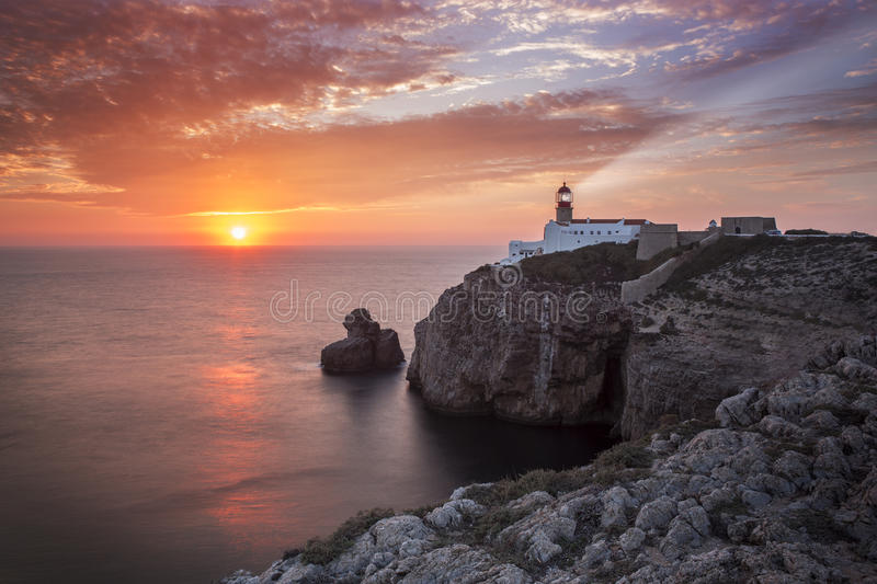 Lighthouse Sao Vicente during sunset, Sagres Portugal royalty free stock photos