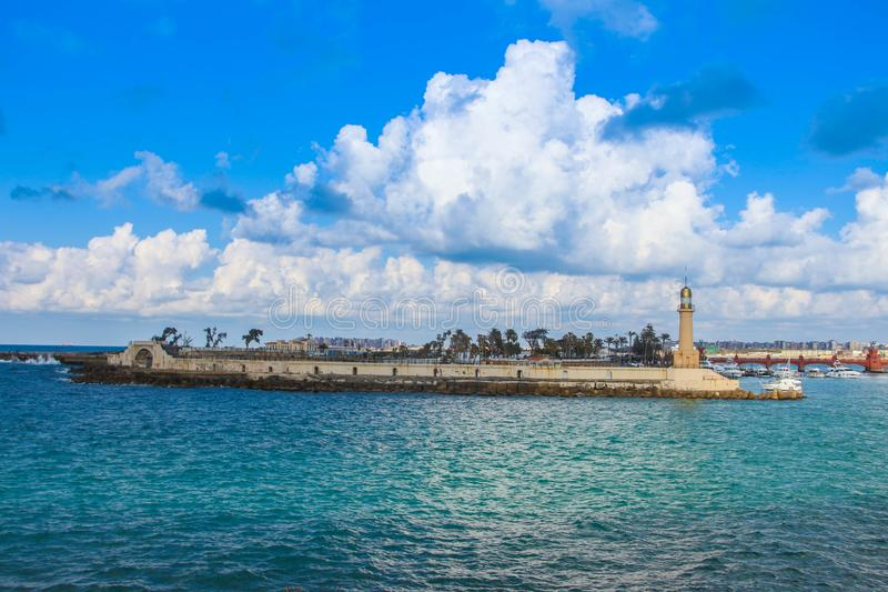 Lighthouse in the sea Alexandria  in Egypt almontazah stock photography