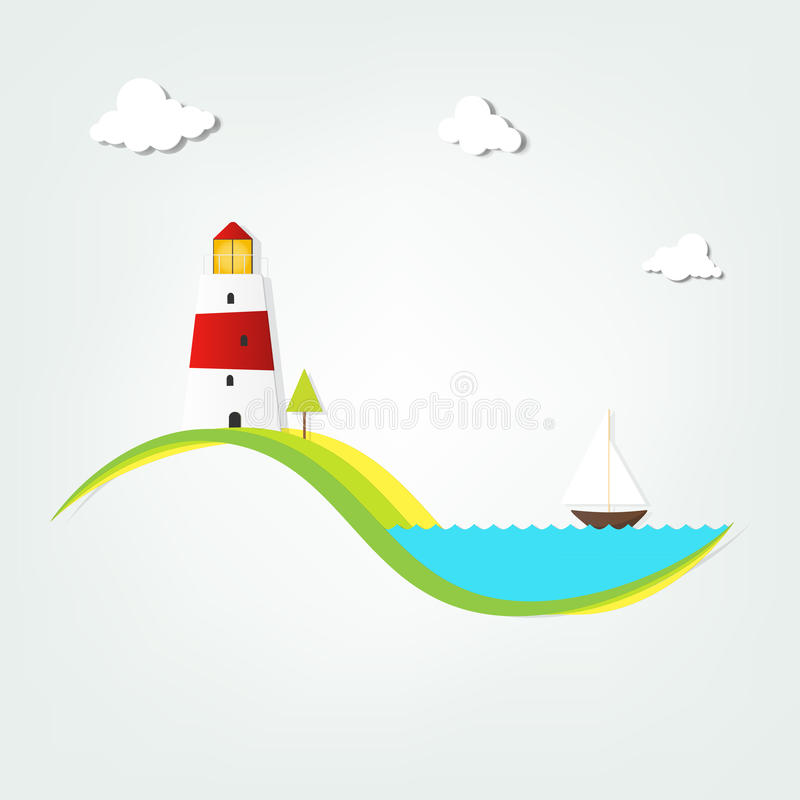 Lighthouse by the sea royalty free illustration