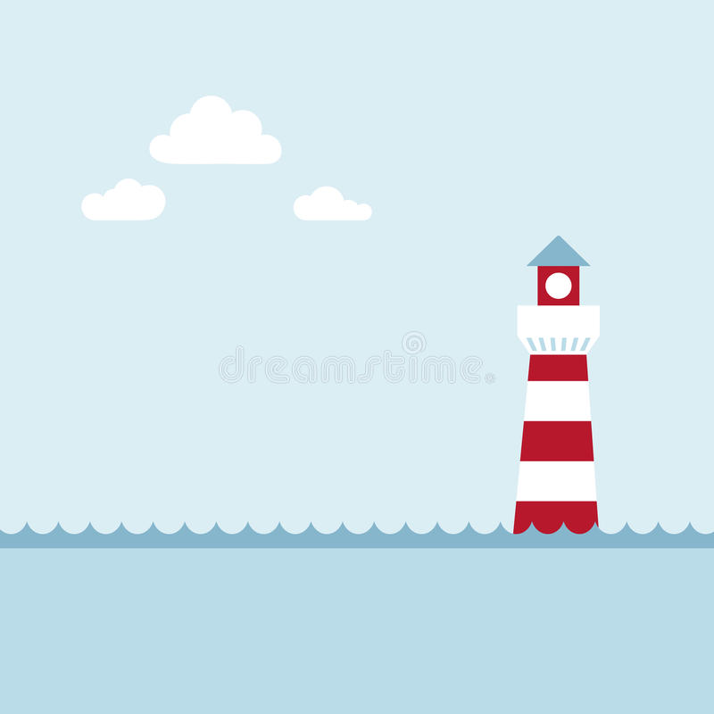 Lighthouse On The Sea Landscape. Stock Images
