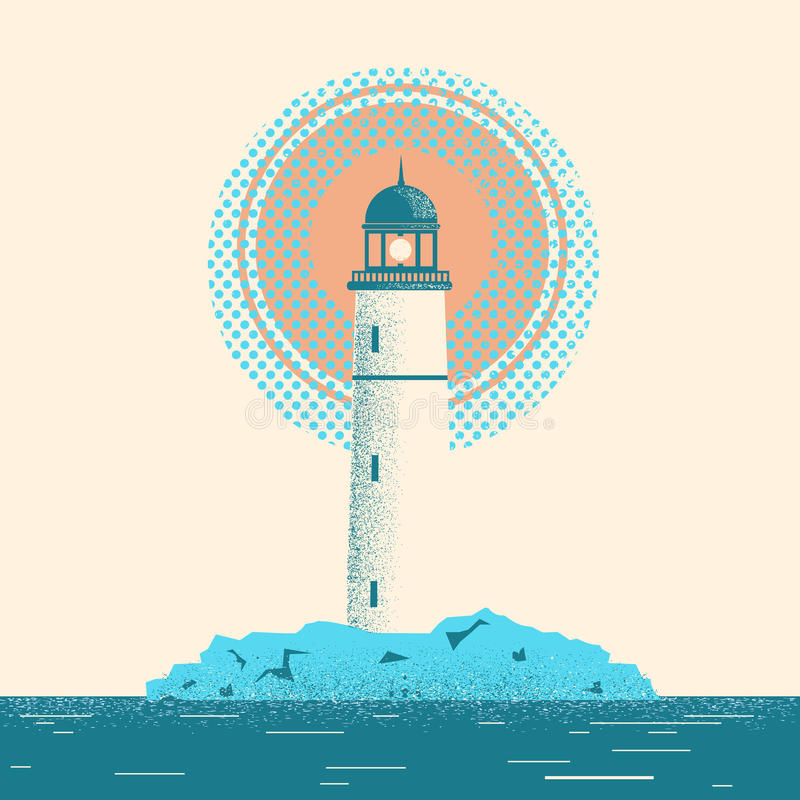 Lighthouse seascape horizon illustration. vector illustration
